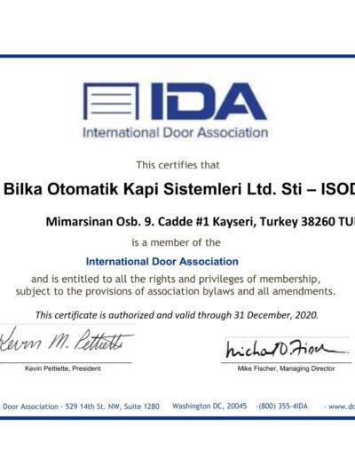 ISODOOR_IDA Membership Certificate